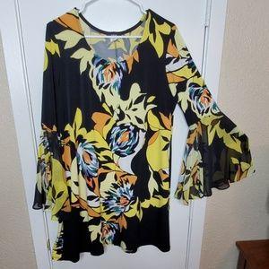 Yellow & Black Print Dress